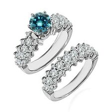 1.25 Ct Blue Diamond Fancy Cluster Solitaire Wedding Ring Band 14K White Gold