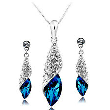 Luxury Women Lady Crystal Rhinestone Earring Neckalce Bridal Wedding Jewelry Set