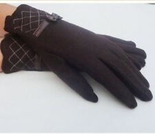 Autumn Winter Women  gloves Warm Mittens Cute Bow Full-finger Wool Gloves