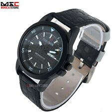 Luxury Men Black Dial Date Leather Quartz Stainless Steel Wrist Watch Waterproof
