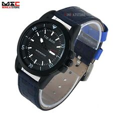 Classic Mens Dial Date Analog Sport Quartz Leather Stainless Steel Wrist Watch