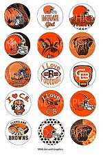 Cleveland Browns inspired themed bottle cap IMAGES 1 inch - 1 inch round circles