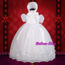 Beaded Baby Girl Organza Baptism Christening Gown Dress Bonnet Size 0-18mo CN005