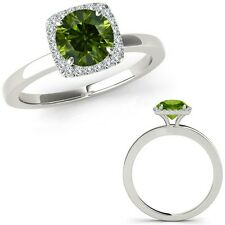 1.5 Carat Green Diamond Fancy Solitaire Halo Wedding Band Ring 14K White Gold
