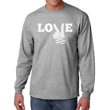 Shirt Love Peace T Long Sleeve Flag S 4th of July Freedom Country Hand Sign Gift