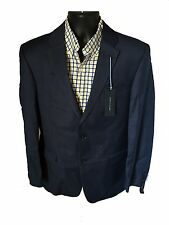 $400 TOMMY HILFIGER SUIT JACKET BLAZER COAT NAVY BLUE 100% WOOL SOLID TWO BUTTON