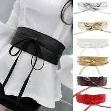 Women Soft Leather Wide Self Tie Wrap Around Obi Waist Band Boho Dress Belt hs