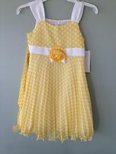 Bonnie Jean yellow Dots Chiffon Dress Special Occasion Easter Wedding 8 NEW