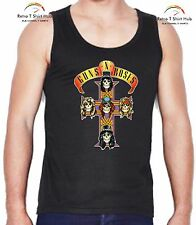 GUNS n ROSES LOGO HEAVY METAL ROCK Retro Vintage   SINGLET