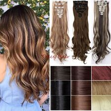 New Real 18Clips Full Head Clip In Hair Extension Natural As Human 8 Pieces  H91