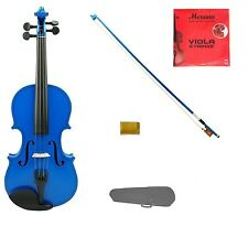 """New Student Blue Viola,Bow+Case+2 Sets Strings+Rosin 16""""15""""14""""13""""12""""11""""10"""""""
