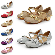 Comfortable Buckle Bow Soft Latin Kids Shoes Fashion Dancing High Heeled Shoes