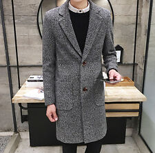 Men's Stylish 2 Button Pockets Slim Fit Winter Long Overcoat Trench Coat Jackets