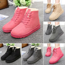 Women's snow boots Warm Suede Fur Lined Flat Shoes fashion Lace Up ankle boots