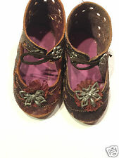Antique  leather FRENCH Jumeau Bru Steiner Eden Bebe  doll shoes doll 2,3 inch