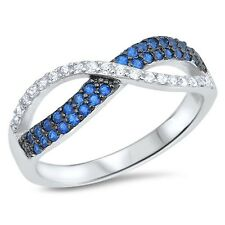 Genuine Sterling Silver Blue Sapphire Clear CZ Infinity Band Ring Size 4-10