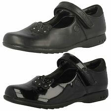 Clarks SALE Girls Trixi Run Black Leather Or Patent Strap School Shoes