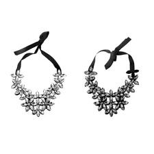 Crystal Flower Statement Necklace Chunky Bubble Choker Bib Collar-White/Black