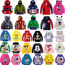 Kids Boys Girls Long Sleeve Cartoon Hoodies Jumper Coat Sweatshirt Pullover Tops