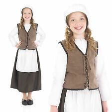 Childrens Tudor Kitchen Girl Fancy Dress Costume Victorian Maid Outfit 6-12 Yrs
