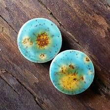 Pair of Lotus Blossom Glass Ear Plugs Double-flared Gauges Stretchers Tunnels