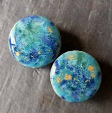 Pair - Blue Caprice Glass Ear Plugs Double-flared Gauges Stretchers Tunnels