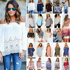New Fashion Womens Summer Loose Casual Off Shoulder Shirt Tops Blouse Ladies Top