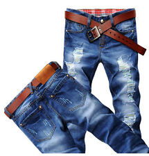 Classic Men's Stylish Designed Straight Slim Fit Trousers Casual Jeans Pants f