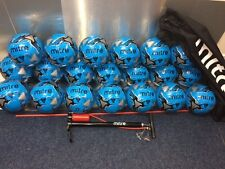 20 x MITRE MISSION FOOTBALLS + BALL SACK + STIRRUP PUMP - CYAN BLUE - 3 - 4 - 5