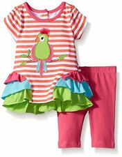 NANNETTE Baby Girl Striped Parrot Applique Ruffle Tunic Legging Set 3-6 6-9M New