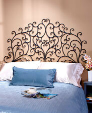 Black Scrolled Wrought Iron Metal Wall-Mount Headboard Queen or King Mantel