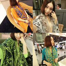 Lady Scarf Women's Summer Beach print Long Soft Wrap Shawl Silk Scarves GB