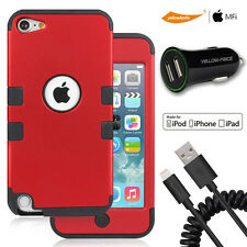 Hybrid Silicon Hard Case,Car Charger,MFI Coiled Lightning Cable iPod Touch 5 6th