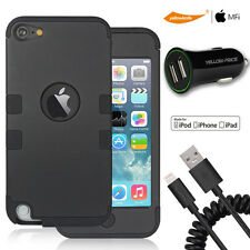iPod Touch 5 6th[Shock-Dispersion]Case,2.4Car Charger,MFI Spring Lightning Cable