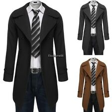 Men Fashion Slim Double Breasted Trench Coat Long Jacket Overcoat Outwear EHE8