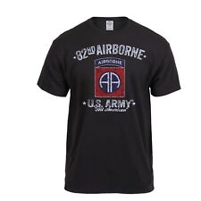 82nd Airborne Distressed Black Ink  T-Shirt Mens Military T-Shirt Rothco 80348