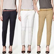 Casual Women's Skinny Long Trousers OL Thin Belt Fashion Slim Comfy Pencil Pants