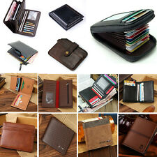 Bifold Wallet Men's Genuine Leather ID Credit Card Holder Mini Purse Money Clip