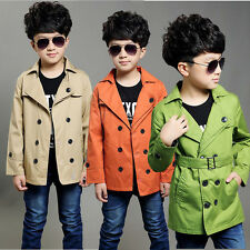 Fashion Winter Boys Kids Double Breasted Trench Coat Slim Jacket Windbreaker