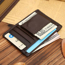 Mens Real Leather Cowhide Money Clip ID Credit Card Case Slot Holder Slim Wallet
