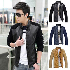 New Mens Fashion Slim Fit Motorcycle PU Leather Jacket Patched Coat Bomber Top