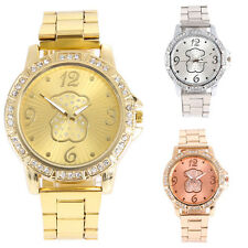 Lady Girl Women's Bling Crystal Bear Stainless Steel Quartz Wrist Watch Analog