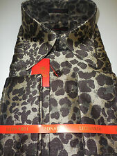 Mens Brown Leopard Gold Speckle High Collar French Cuff Leonardi Shirt Style 445