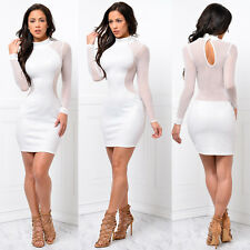Women Sexy Bandage Long Sleeve See Through Stitching Dress Bodycon Evening Party