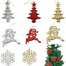 10pcs Bling Glitter Snowflake Reindeer Christmas Tree Decorations Hanger Xmas