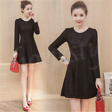 Fashion women's autumn long-sleeved lace dress temperament Slim bottoming skirt