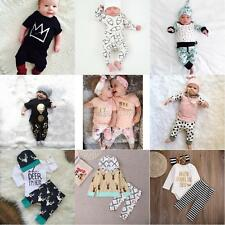 2pcs Newborn Infant Baby Boy Girl Clothes T-shirt Tops+Pants Toddler Outfits Set
