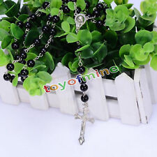 Fashion Jewelry Colors Rosary Beads Imitated Pearl Cross Long Pendant Necklace