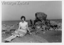 Old Vintage Photograph Black & White Photo Woman In Skirt Sitting On Rocks 1940s