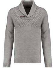Industrialize Mens Light Grey Shawl Neck Wool Blend Jumper Pullover Sweater Top